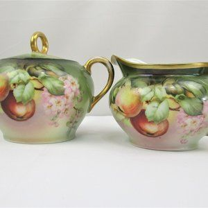 Vintage Hand Painted Bavarian Sugar and Creamer
